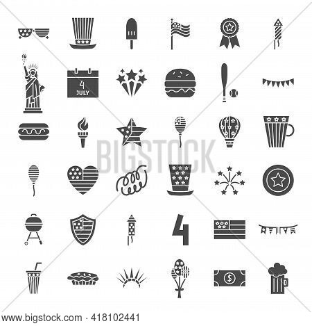 4 July Solid Web Icons. Vector Set Of Usa Independence Day Glyphs.