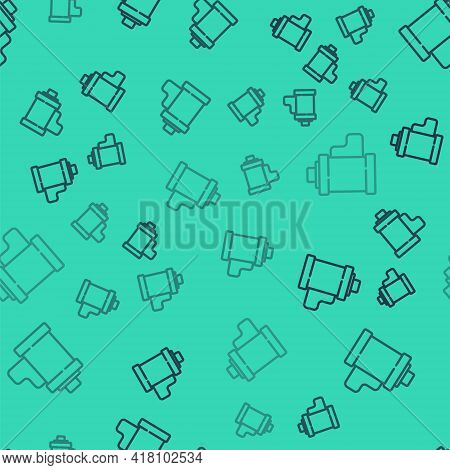 Black Line Camera Vintage Film Roll Cartridge Icon Isolated Seamless Pattern On Green Background. 35