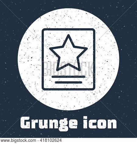 Grunge Line Hollywood Walk Of Fame Star On Celebrity Boulevard Icon Isolated On Grey Background. Fam