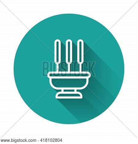 White Line Burning Aromatic Incense Sticks Icon Isolated With Long Shadow. Green Circle Button. Vect