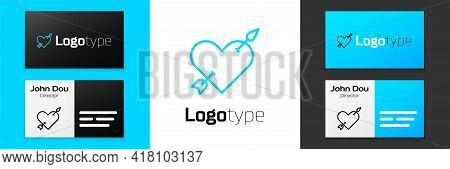 Blue Line Amour Symbol With Heart And Arrow Icon Isolated On White Background. Love Sign. Valentines