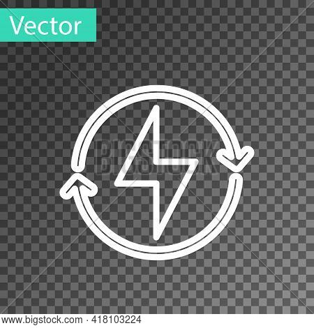 White Line Lightning Bolt Icon Isolated On Transparent Background. Flash Sign. Charge Flash Icon. Th