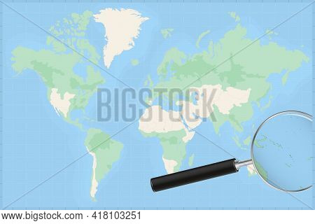 Map Of The World With A Magnifying Glass On A Map Of Vanuatu Detailed Map Of Vanuatu And Neighboring