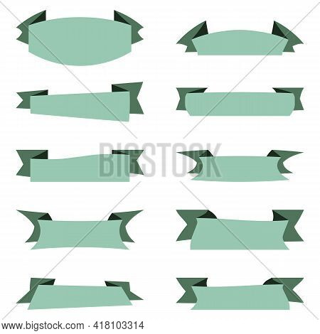 Vector Collection Of Ribbons Banners On White Backdrop. Flat Very Light Greenish Blue Ribbons Isolat