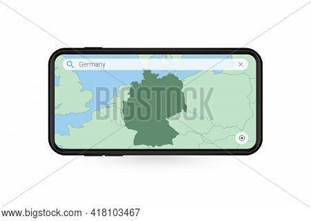 Searching Map Of Germany In Smartphone Map Application. Map Of Germany In Cell Phone. Vector Illustr
