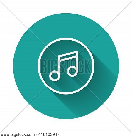 White Line Music Note, Tone Icon Isolated With Long Shadow. Green Circle Button. Vector