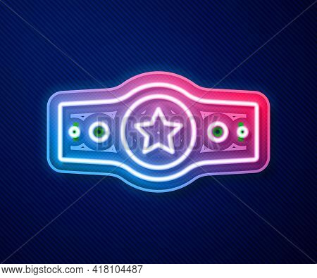 Glowing Neon Line Boxing Belt Icon Isolated On Blue Background. Belt Boxing Sport Championship Winne