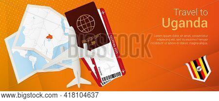 Travel To Uganda Pop-under Banner. Trip Banner With Passport, Tickets, Airplane, Boarding Pass, Map