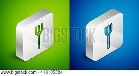 Isometric Line Garden Pitchfork Icon Isolated On Green And Blue Background. Garden Fork Sign. Tool F
