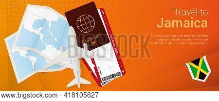 Travel To Jamaica Pop-under Banner. Trip Banner With Passport, Tickets, Airplane, Boarding Pass, Map