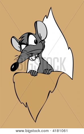 Cartoon Mouse looking behind a thorn paper. poster