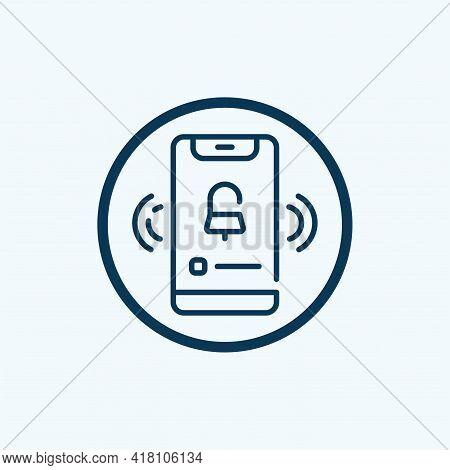 Alarm Clock Line Icon. Mobile Phone Vector Button. Time Or Watch Sign. Alarm Clock Line Icon. Abstra