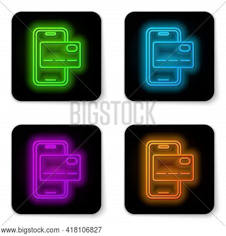 Glowing Neon Line Mobile Banking Icon Isolated On White Background. Transfer Money Through Mobile Ba