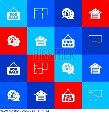 Set Hanging Sign With For Sale, House Plan, Real Estate Message House And Garage Icon. Vector