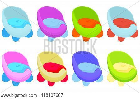 Illustration On Theme Kit Plastic Baby Pots With Comfortable Handle