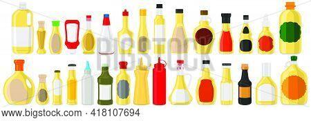 Illustration Big Kit Varied Glass Bottles Filled Liquid White Wine Vinegar