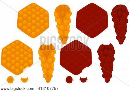 Illustration On Theme Big Kit Different Types Cone Waffle With Bubbles