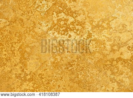 Golden Textured Paint Spotted Sponged Strokes Paper Banner Design.shiny Yellow Textured Leaf Gold Fo