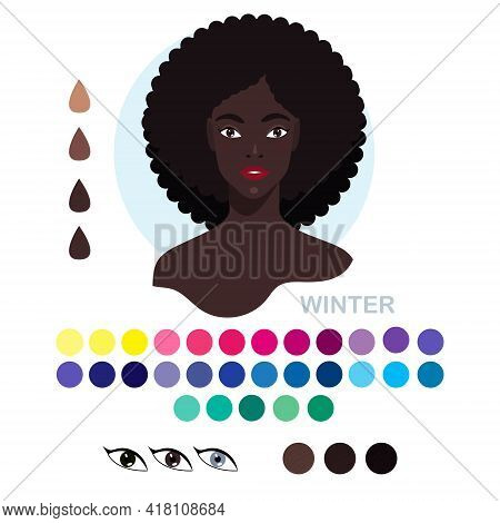 Black Woman Appearance Color Type Winter. Woman Portrait With Color Type Or Types Of Skin Color. Fas