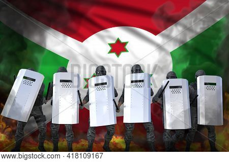 Burundi Protest Fighting Concept, Police Special Forces Protecting Law Against Revolt - Military 3d