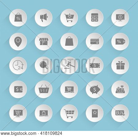 E-commerce Vector Icons On Round Puffy Paper Circles With Transparent Shadows On Blue Background. E-
