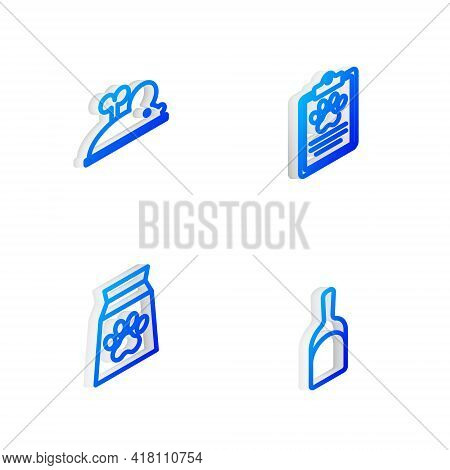 Set Isometric Line Clinical Record Pet, Clockwork Mouse, Bag Of Food For And Dustpan Icon. Vector