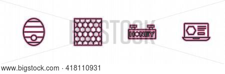 Set Line Hive For Bees, Hanging Sign With Honeycomb, Honeycomb And Online Service Icon. Vector