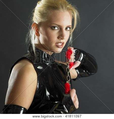 woman's portrait with handcuffs