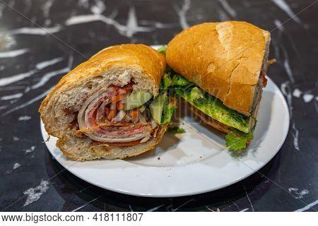 Delicious Vietnam Street Food - Banh Mi, Crusty Pork Sandwich