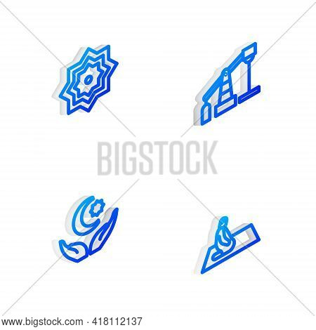 Set Isometric Line Oil Pump Or Pump Jack, Octagonal Star, Star And Crescent And Muslim Man Prays Ico