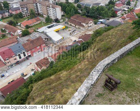 Doboj, Bosnia Nad Herzegovina - July 18, 2020: View Of The Town Of Doboj, Street Bellow Gradina Fort