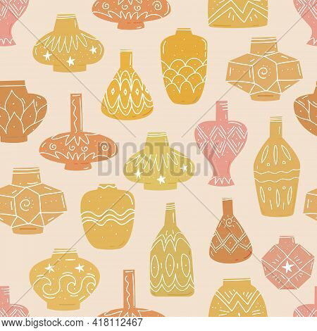 Pottery Clay Vases. Seamless Pattern With Ancient And Modern Ceramic Vases, Vessels, Jars. Hand Draw