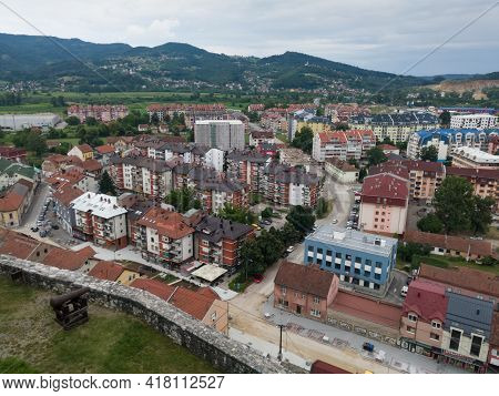 Doboj, Bosnia Nad Herzegovina - July 18, 2020: View Of The Town Of Doboj And The Hilly Countryside F