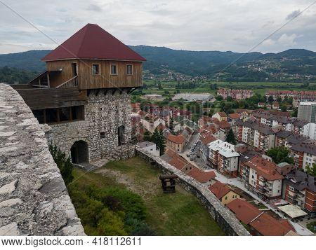 Doboj, Bosnia Nad Herzegovina - July 18, 2020: Tower On The Medieval Fortress Gradina Above Doboj Do