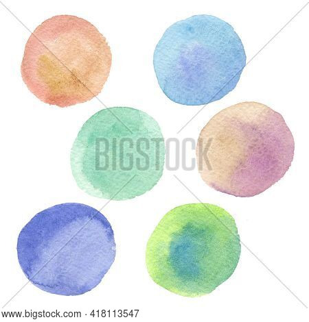 Watercolor Spot Green Texture  Fill Background. Violet, Orange And Blue Spots And Blot