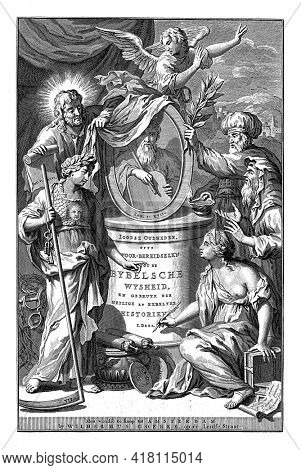 In the center a pedestal with the portrait of Moses in an oval frame. On the pedestal the title of the book.