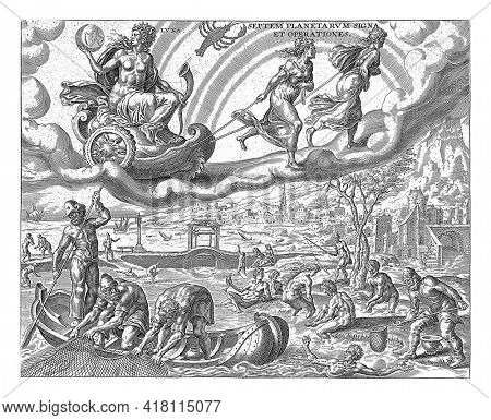 Luna, the moon, with a hunting horn in her hand, is sitting in a chariot, which is pulled across the sky by two girls. The sign of Cancer indicates who belongs to the sphere of influence of the moon.