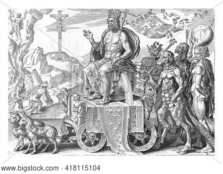 In the foreground Christ riding a triumphal chariot drawn by two lambs. He is enthroned in the world. In his left hand a cross with a banner. On the banner the tools of his passion.