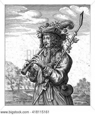 The shepherd Coridon plays the flute and tries to flatter his beloved Sylvia. Below the performance a four-line verse in Dutch.