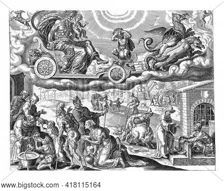 Saturn rides in his chariot in the sky, pulled by two dragons. He devours one of his children. The signs of Capricorn and Aquarius indicate which people belong to Saturn's sphere of influence.