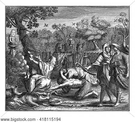Germanic men kneel in adoration before a statue on an altar. They have just made a sacrifice, a fire is still burning on the altar.