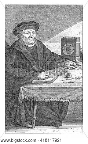 Portrait to the right full-length of Martin Luther, sitting and writing at a table. On the table an upright Bible, an inkwell, feather and a penknife.