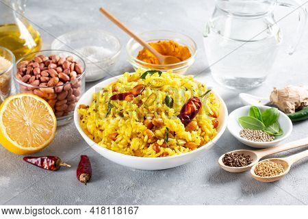 Lemon Rice, An Easy To Make South Indian Traditional, Popular And Vegetarian Rice Dish. Traditional