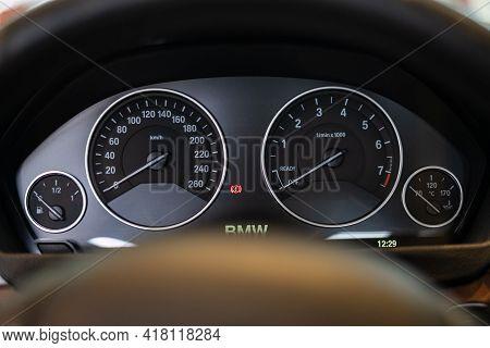 Istanbul, Turkiye - September 2020: Bmw Car Instrument Panel. Dashboard With Speedometer, Tachometer