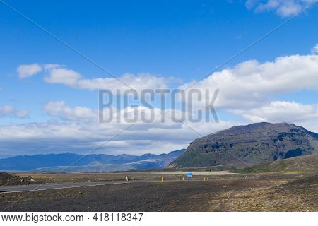 Perspective Road From South Iceland, Icelandic Landscape. Beautiful Iceland