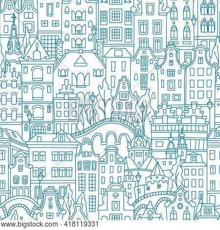 Blue Seamless Pattern With Amsterdam Canal And Typical Dutch Houses, Holland, Netherlands.