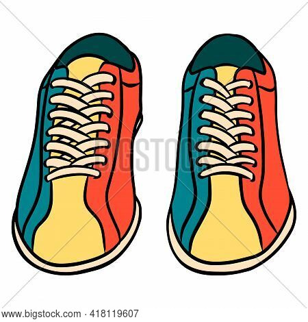 Bowling Shoes. Shoes For The Game. Required For Bowling. Bowling Club. Cartoon Style.