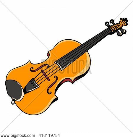 Violin. Musical Instrument. Classical Music. Cartoon Style.