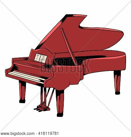 Piano. Classical Music. Musical Instrument. Cartoon Style.