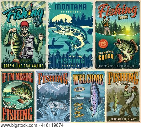 Fishing Vintage Colorful Posters Collection With Fishers And Pike Perch Rainbow Trout Fishes On Natu